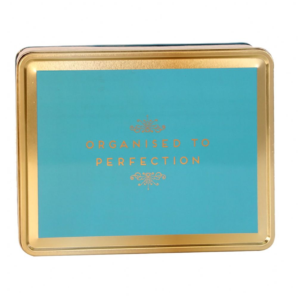 Decorative Storage Tin 'Organised To Perfection' Aqua & Gold Office Student Storage Tin